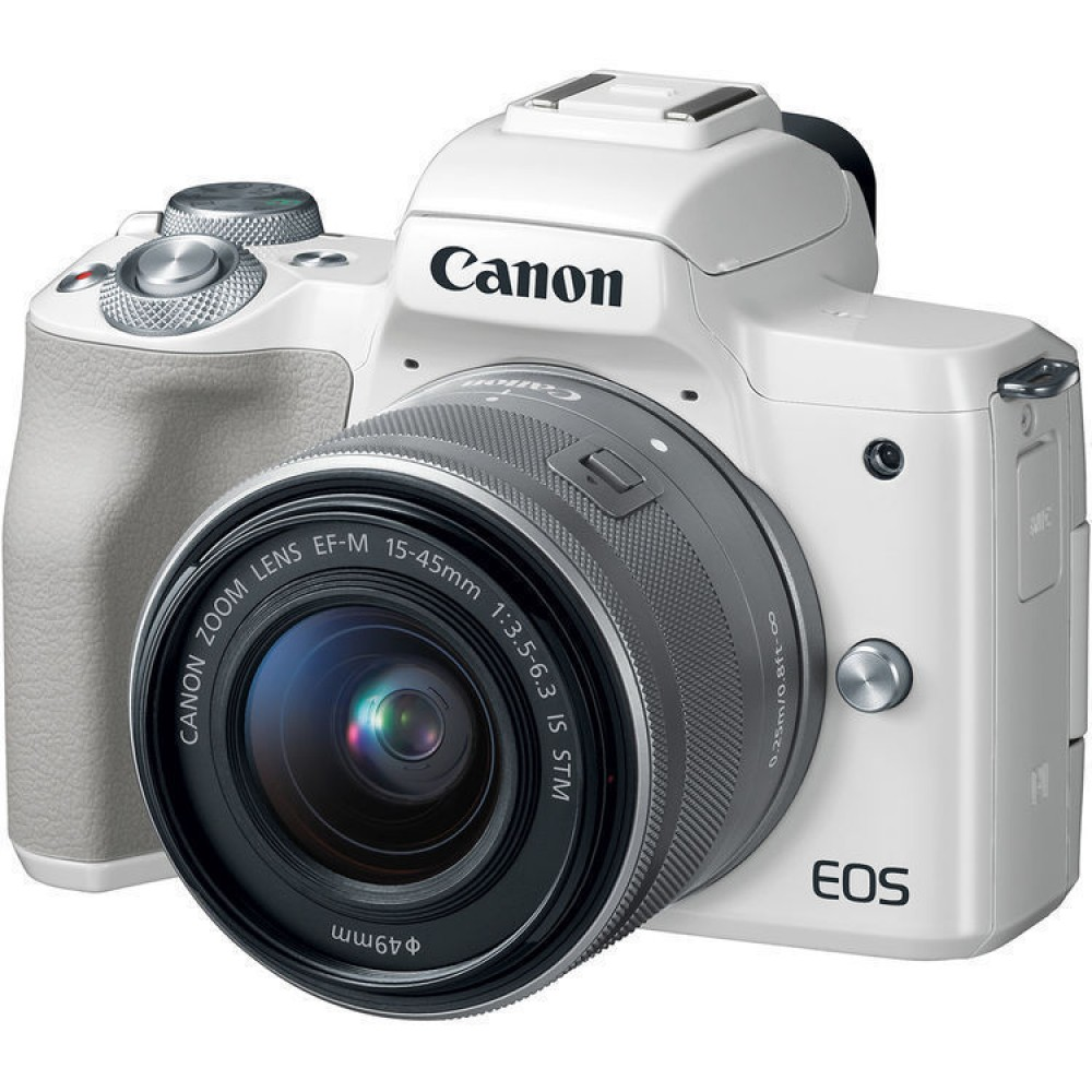 Canon EOS M50 + EF-M 15-45mm IS STM Kit - Valkoinen